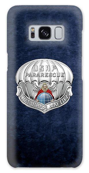 U. S.  Air Force Pararescuemen - P J Badge Over Blue Velvet Galaxy Case by Serge Averbukh