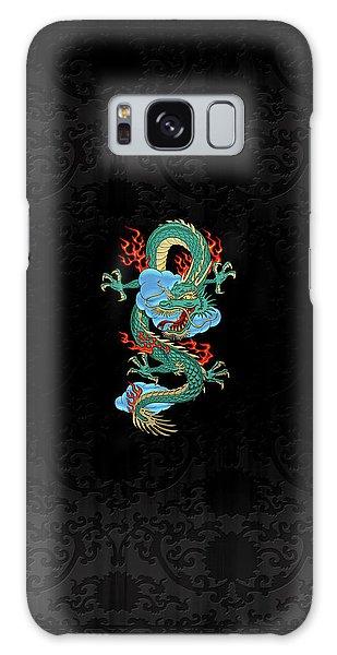 The Great Dragon Spirits - Turquoise Dragon On Black Silk Galaxy Case by Serge Averbukh