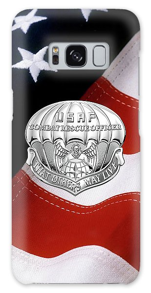 U. S.  Air Force Combat Rescue Officer - C R O Badge Over American Flag Galaxy Case by Serge Averbukh