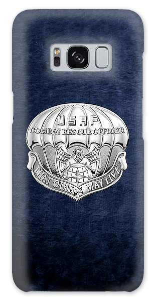 U. S.  Air Force Combat Rescue Officer - C R O Badge Over Blue Velvet Galaxy Case by Serge Averbukh