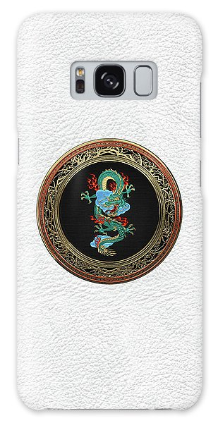 Treasure Trove - Turquoise Dragon Over White Leather Galaxy Case by Serge Averbukh
