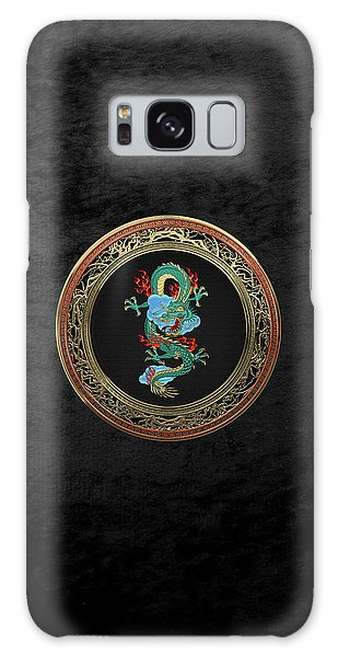 Treasure Trove - Turquoise Dragon Over Black Velvet Galaxy Case by Serge Averbukh