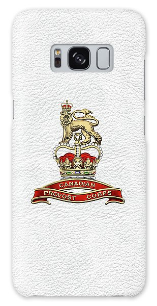 Canadian Provost Corps - C Pro C Badge Over White Leather Galaxy Case by Serge Averbukh