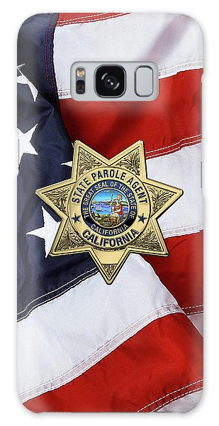California State Parole Agent Badge Over American Flag Galaxy Case by Serge Averbukh