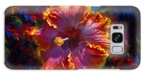 Rainbow Hibiscus Tropical Flower Wall Art Botanical Oil Painting Radiance  Galaxy Case