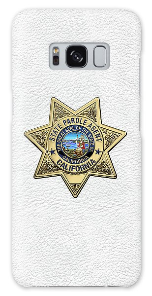 California State Parole Agent Badge Over White Leather Galaxy Case by Serge Averbukh