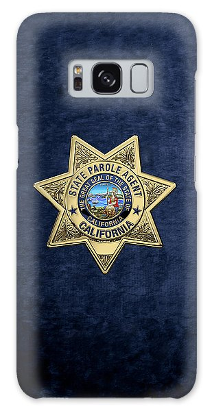 California State Parole Agent Badge Over Blue Velvet Galaxy Case by Serge Averbukh