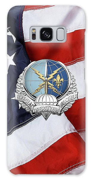 Special Operations Weather Team -  S O W T  Badge Over American Flag Galaxy Case by Serge Averbukh
