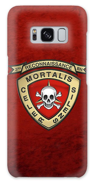 U S M C  3rd Reconnaissance Battalion -  3rd Recon Bn Insignia Over Red Velvet Galaxy Case