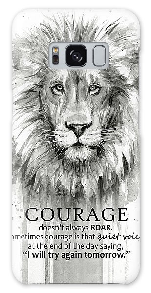 Lion Galaxy Case - Lion Courage Motivational Quote Watercolor Animal by Olga Shvartsur
