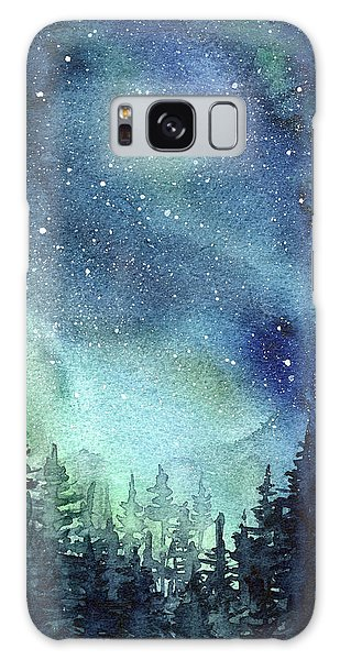 Galaxy Galaxy Case - Galaxy Watercolor Aurora Painting by Olga Shvartsur