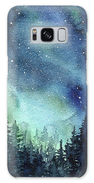 Outer Space Galaxy Case - Galaxy Watercolor Aurora Painting by Olga Shvartsur