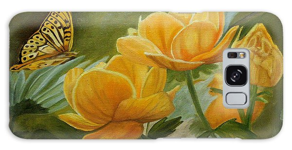 Butterfly Among Yellow Flowers Galaxy Case