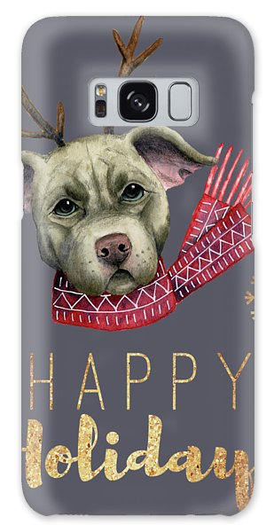 Scarf Galaxy Case - Christmas Reindeer Pit Bull With Faux Gold Fonts by NamiBear