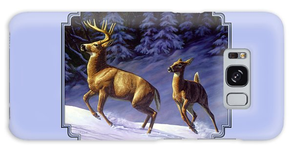 White-tailed Deer Galaxy Case - Whitetail Deer Painting - Startled by Crista Forest