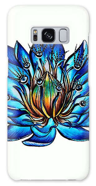 Weird Multi Eyed Blue Water Lily Flower Galaxy Case