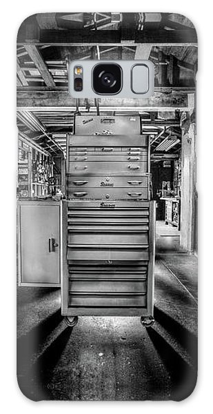 Light Paint Galaxy Case - Mechanics Toolbox Cabinet Stack In Garage Shop In Bw by YoPedro