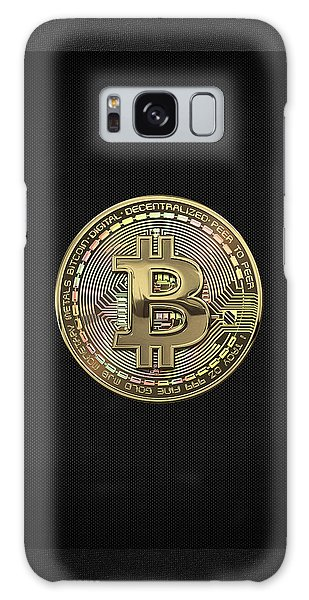 Pop Art Galaxy Case - Gold Bitcoin Effigy Over Black Canvas by Serge Averbukh