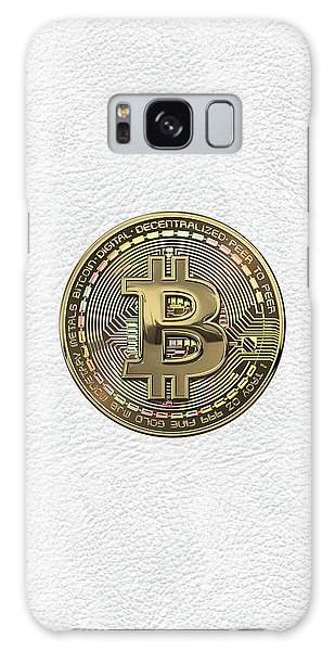 Pop Art Galaxy Case - Gold Bitcoin Effigy Over White Leather by Serge Averbukh