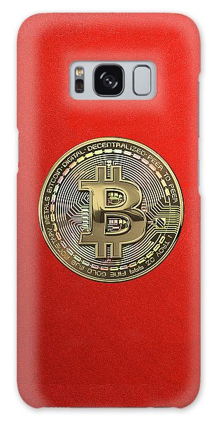 Pop Art Galaxy Case - Gold Bitcoin Effigy Over Red Canvas by Serge Averbukh