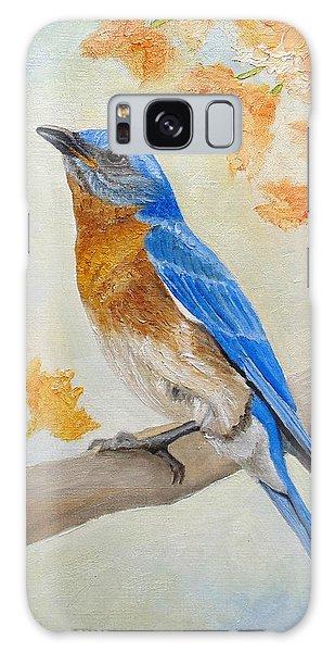 Eastern Bluebird Galaxy Case - Eastern Bluebird Among Flowers by Angeles M Pomata