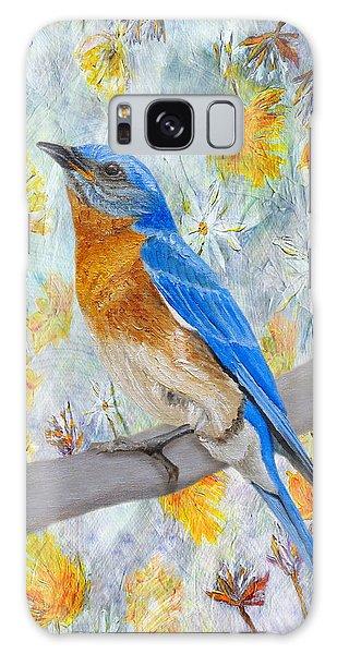 Eastern Bluebird Galaxy Case - Springtime Eastern Bluebird by Angeles M Pomata