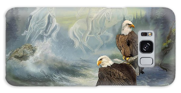 The Eagles Galaxy Case - Eagels And Native American  Spirit Riders by Regina Femrite