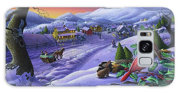 Cardinal Galaxy Case -  Christmas Sleigh Ride Winter Landscape Oil Painting - Cardinals Country Farm - Small Town Folk Art by Walt Curlee