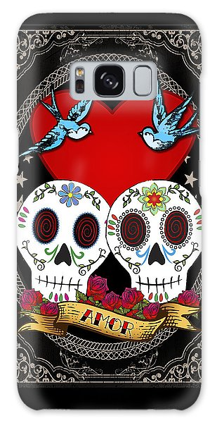 Bluebird Galaxy Case - Love Skulls II by Tammy Wetzel