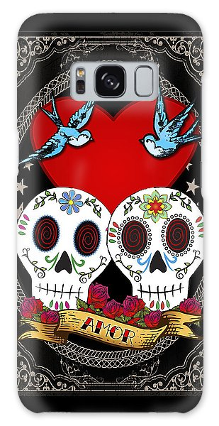 Bluebird Galaxy Case - Love Skulls II by Tammy Wetzel
