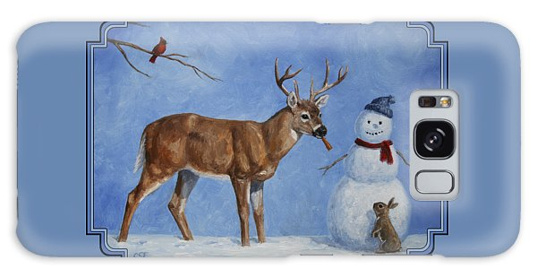 Buck Galaxy Case - Whitetail Deer And Snowman - Whose Carrot? by Crista Forest