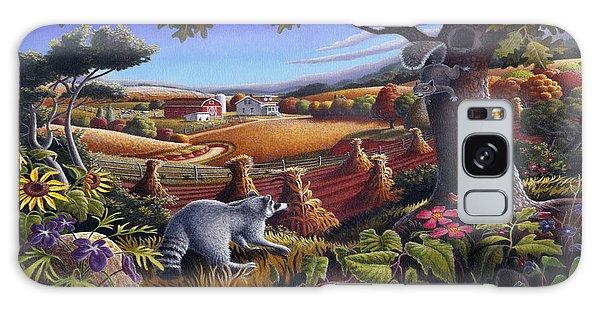 Squirrel Galaxy Case - Rural Country Farm Life Landscape Folk Art Raccoon Squirrel Rustic Americana Scene  by Walt Curlee