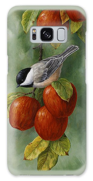 Basket Galaxy Case - Bird Painting - Apple Harvest Chickadees by Crista Forest
