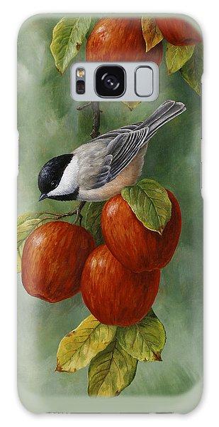 Bird Painting - Apple Harvest Chickadees Galaxy Case