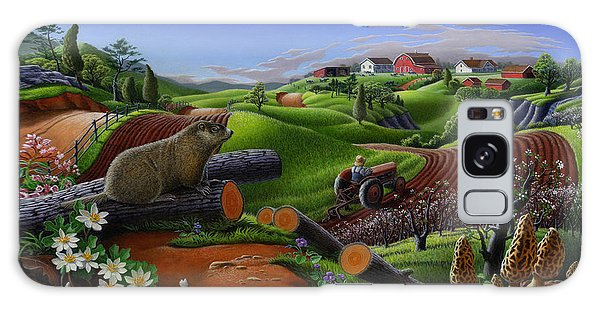 Farm Folk Art - Groundhog Spring Appalachia Landscape - Rural Country Americana - Woodchuck Galaxy Case