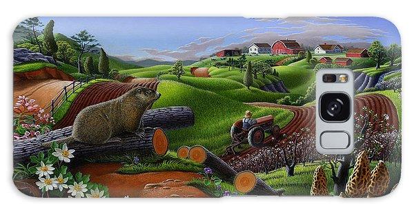 Groundhog Galaxy Case - Farm Folk Art - Groundhog Spring Appalachia Landscape - Rural Country Americana - Woodchuck by Walt Curlee