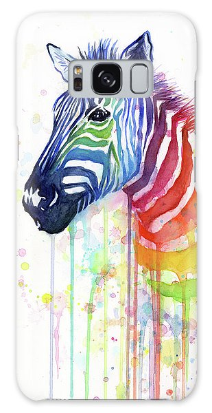 Rainbow Zebra - Ode To Fruit Stripes Galaxy Case by Olga Shvartsur
