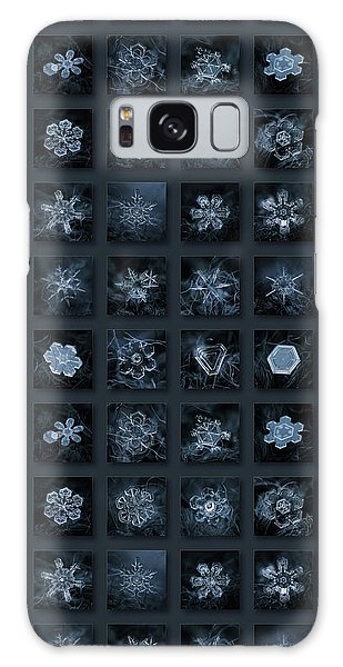 Galaxy Case featuring the photograph Snowflake Collage - Season 2013 Dark Crystals by Alexey Kljatov