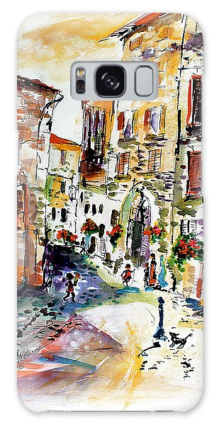 Assisi Italy Old Town Watercolor Galaxy Case