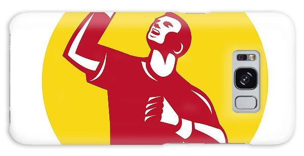Sportsman Galaxy Case - Athlete Fist Pump Circle Retro by Aloysius Patrimonio