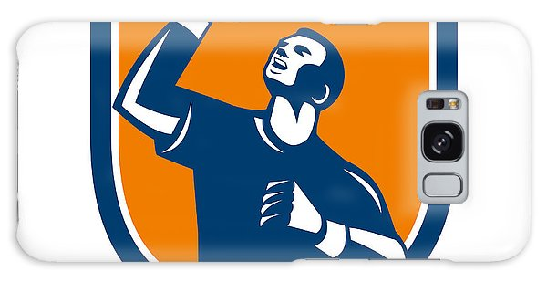 Sportsman Galaxy Case - Athlete Fist Pump Crest Retro by Aloysius Patrimonio