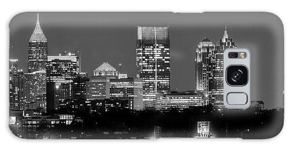 Atlanta Skyline At Night Downtown Midtown Black And White Bw Panorama Galaxy Case