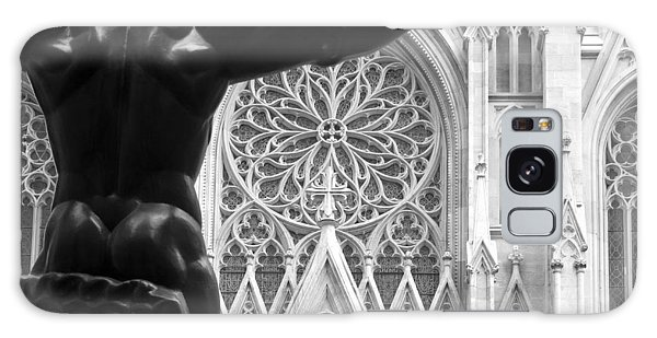 Atlas And St. Patrick's Cathedral Galaxy Case by Michael Dorn