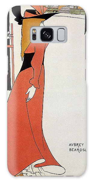 Aubrey Beardsley - Girl In Red Gown - Vintage Advertising Poster Galaxy Case