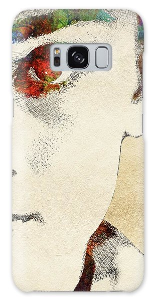 Audrey Half Face Portrait Galaxy Case by Mihaela Pater