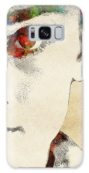 Audrey Half Face Portrait Galaxy Case by Mihaela Pater