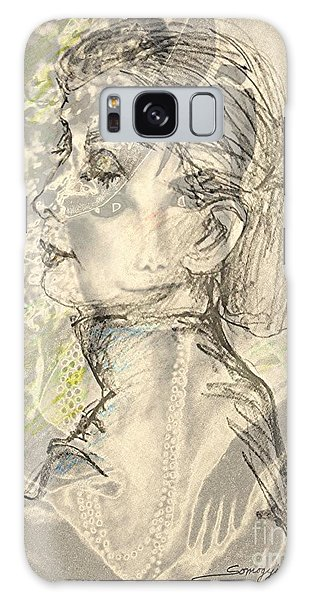 Audrey Two -- Portrait Of Audrey Hepburn Galaxy Case