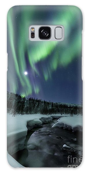 Galaxy Case featuring the photograph Aurora Borealis Over Blafjellelva River by Arild Heitmann