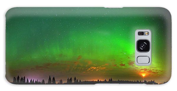 Aurora Over Pond Panorama Galaxy Case