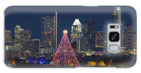 Austin Panorama Of The Trail Of Lights And Skyline Galaxy Case